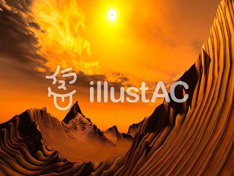 幻想的なファンタジーな景観(線)のイラスト