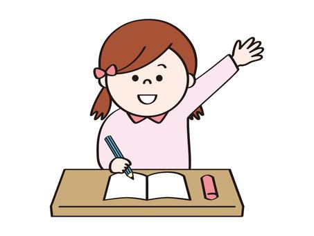女孩A在課堂和提出期間舉手