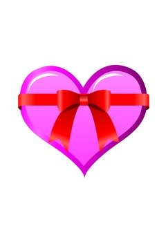 Heart with ribbon (peach)