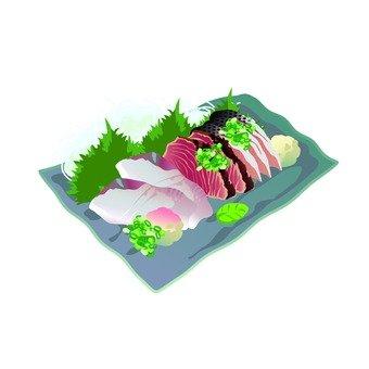 Assorted sashimi (gray square dish)