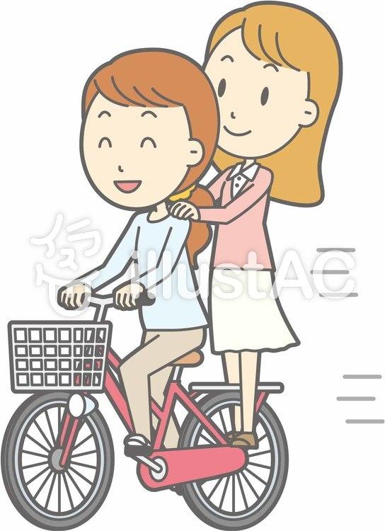 自転車女性-自転車立つ-全身のイラスト