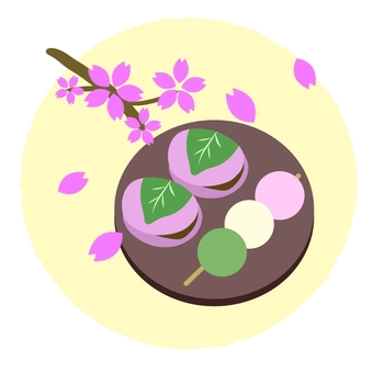 Japanese sweets and cherry blossoms on dishes ②