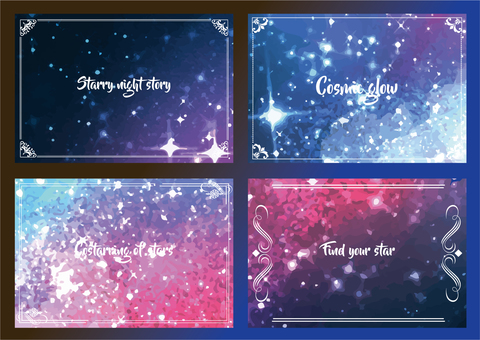 Cosmic watercolor frame set