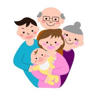 Family surrounding baby
