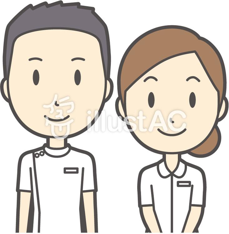男女セット看護師-029-バストのイラスト