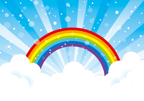 Sky and clouds and rainbow _ background material 01