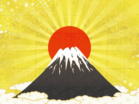 Fuji and sunrise background · gilt background
