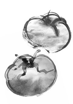 Tomato large ball hand drawn ink