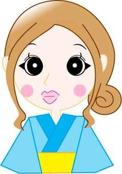 Female upper body wearing a yukata