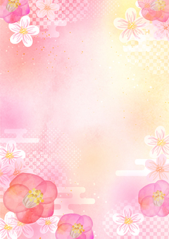 Japanese pattern material 043 Camellia water color background