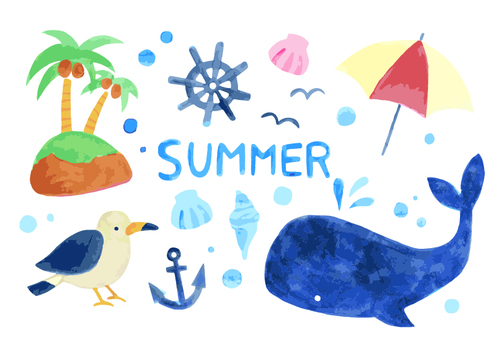 Summer watercolor illustration