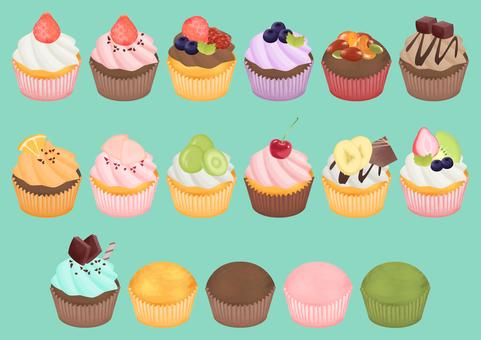 45_ cupcake illustration set