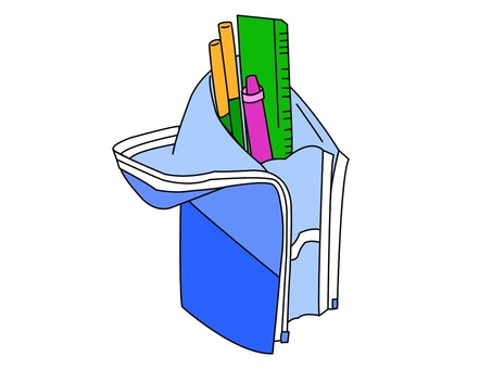 Illustration of a freestanding pencil case