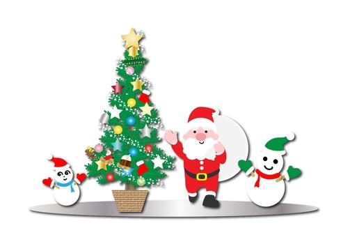 Christmas Santa and tree and snowman