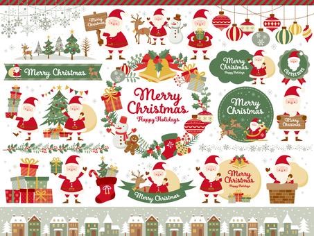 聖誕節插圖和各種聖誕老人(5c)
