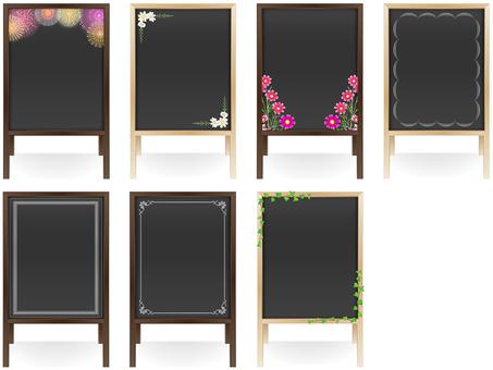 Wooden menu board · Season icon set