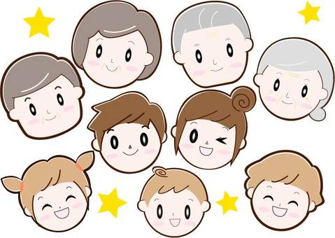 Four generation family (9 people), face only