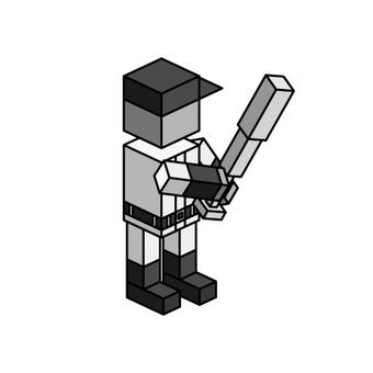 Isometric boy (batter) monochrome