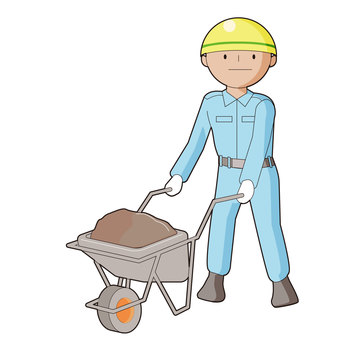 Illustration that a construction worker presses a cat wheel