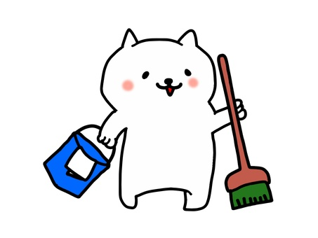 Cleaning of white cats