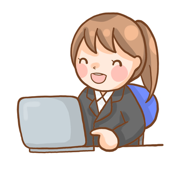 A woman in a suit who is playing a personal computer