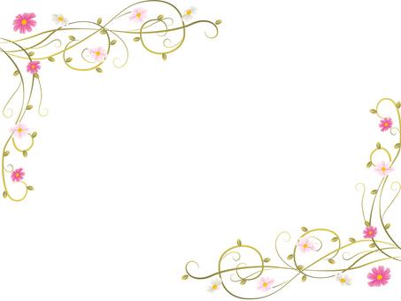 가을 프레임 코스모스 식물 곡선