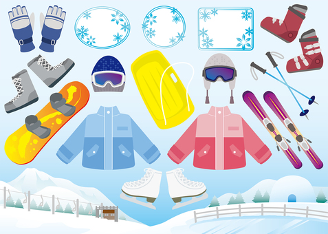 Winter sports image material set