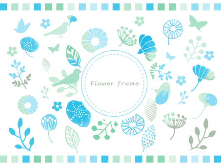 Spring flowers hand drawn frame 2