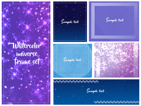 Watercolor style cosmic pattern frame