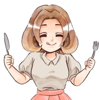 一個吃米飯的女孩