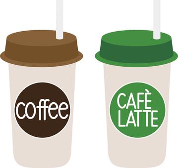 咖啡拿鐵咖啡和咖啡