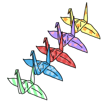 Folding crane (with colorful pattern)