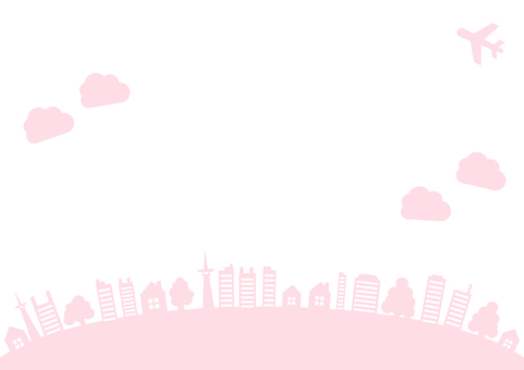 Frame frame pink of sky, plane, tree and building