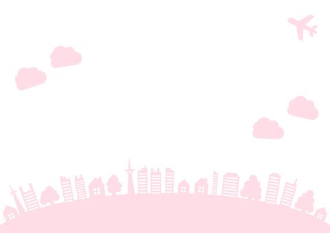 空と飛行機と木とビルのフレーム枠ピンク色