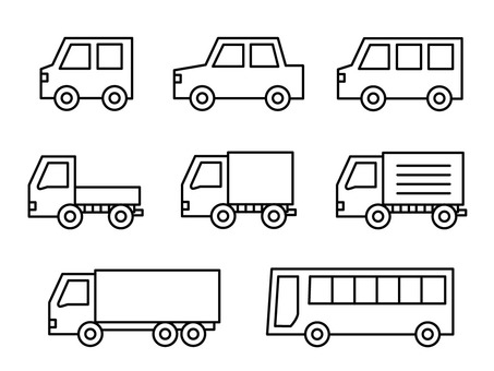 Various cars (line drawing)
