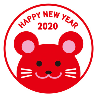 Stamp-style mouse New Year's card material 01