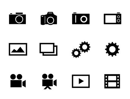 Icon set for camera, photo, video, etc.
