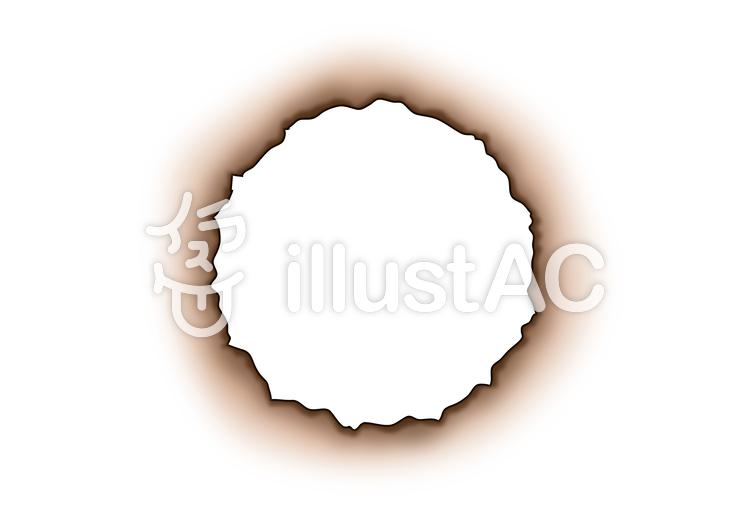 焦げて穴の空いた紙 フレーム 紙 穴イラスト No 1297741無料
