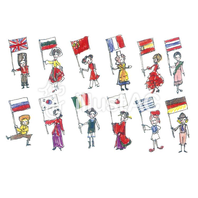 世界の人々 国旗イラスト No 465692無料イラストなら
