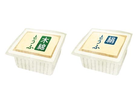 加工食品_大豆製品_パック豆腐_水彩