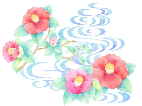 Camellia and water flow ★ 0307-F