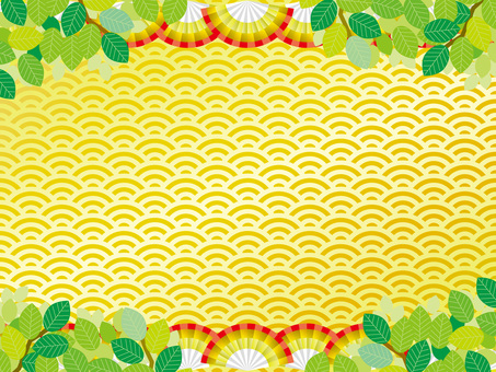 Pattern (141) Fan and gold and fresh green in summer