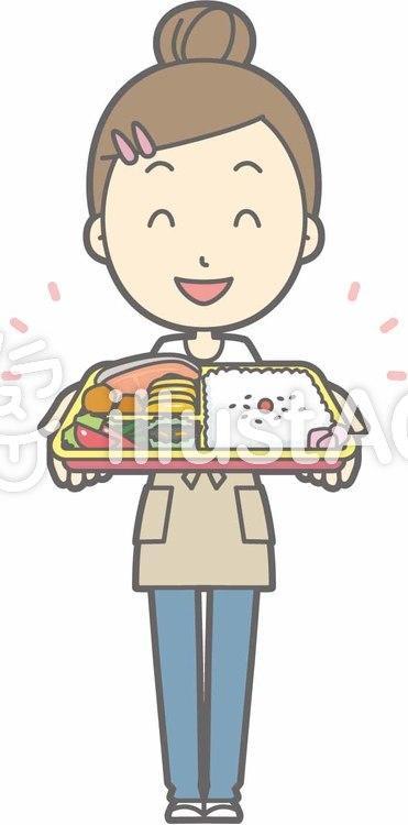 エプロン主婦c-弁当-全身のイラスト