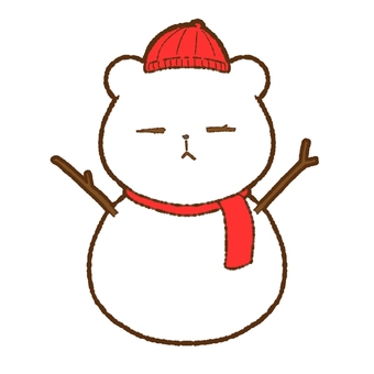 Bear-shaped snowman with muffler and hat