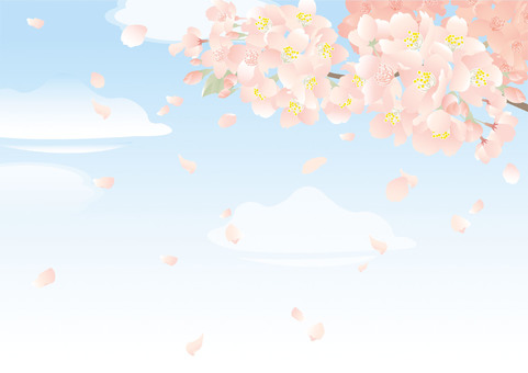 푸른 하늘과 벚꽃 배경