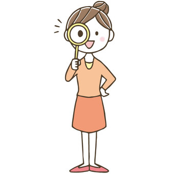 Cute female housewife with magnifying glass / hand drawn