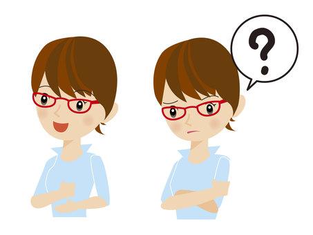眼鏡女性的問題和解決方案