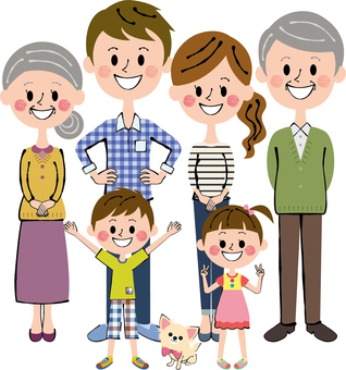 愛犬チワワちゃんと六人家族 全身