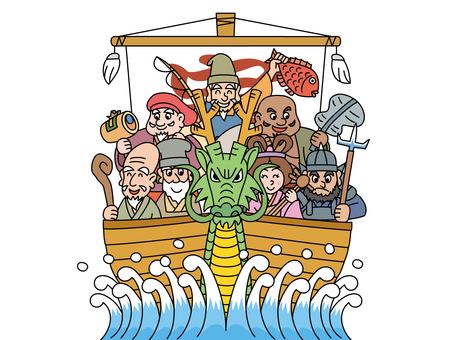 Dragon's treasure ship and Seven Lucky Gods 1