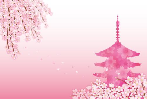 Sakura and five-storied pagoda 5